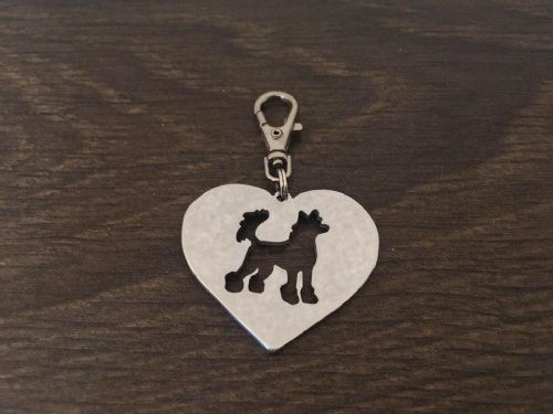 Chinese crested heart  keyring 4.5cm handmade by saw piercing